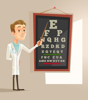 Uśmiechnięty okulista okulista lekarz mężczyzna postać pkt badania tekst, ilustracja kreskówka płaskie
