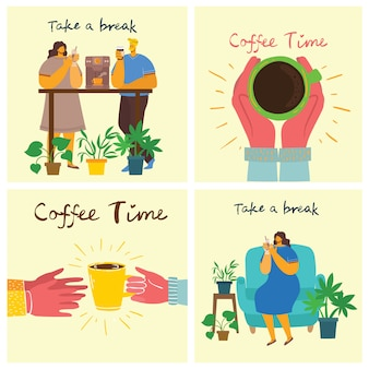 Uśmiechnięty przyjaciel ludzi, picia kawy i rozmowy. czas na kawę, zrób sobie przerwę i karty koncepcyjne wektor relaksu. ilustracja wektorowa w stylu nowoczesny projekt płaski