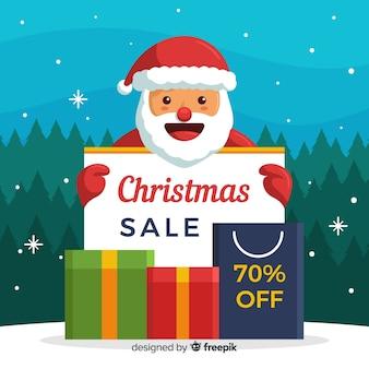 Uśmiechnięty santa bożych narodzeń sprzedaży tło