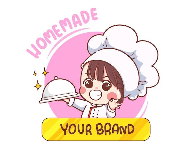 Uśmiechnięty szczęśliwy żeński szef kuchni logo gotowania. wyciągnąć rękę