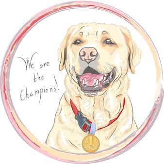 Uśmiechnięty szczęśliwy żółty pies. champion rasy psów labrador retriever w okrągłej ramie. t-shirt grafika. nadruk z psem.