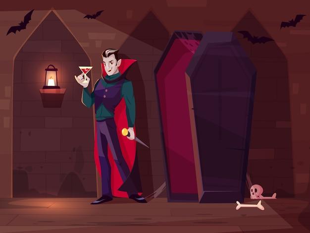 Uśmiechnięty wampir, hrabia dracula stojący ze szklanką krwi w pobliżu otwartej trumny w ciemnym lochu