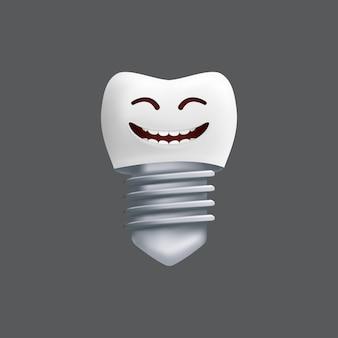 Uśmiechnięty ząb z metalowym implantem. ładny charakter z wyrazem twarzy. zabawny projekt dla dzieci. realistyczna ilustracja dentystycznego modelu ceramicznego na białym tle na szarym tle