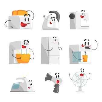 Uśmiechnięty zestaw agd dla. domowy sprzęt elektryczny jako postacie z kreskówek. kolorowe szczegółowe ilustracje