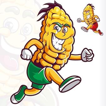 Uśmiechnij się kreskówka maskotka kukurydzy działa