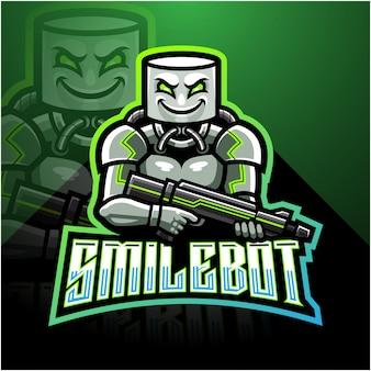 Uśmiechnij się maskotka esport robota logo