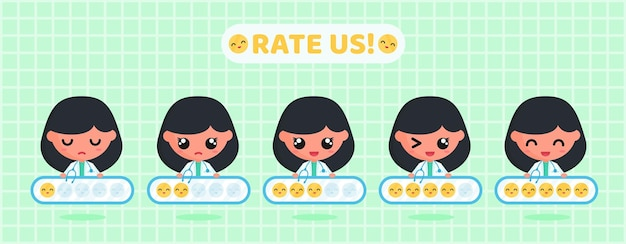 Uśmiechnij się tablica ocen emotikonów do badania satysfakcji klienta z usług medycznych z uroczym lekarzem