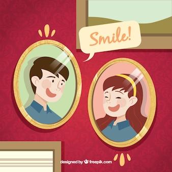 Uśmiechnij się tło z dwoma portretymi