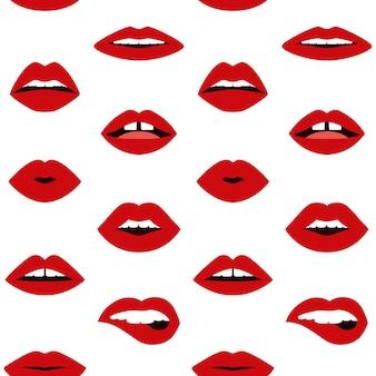 Usta doodle wzór bez szwu kobieta seksowne usta pop-art modny design