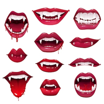 Usta i zęby wampira, zestaw świątecznych potworów z horroru halloween, usta z kłami, krople krwi i języki, otwarte usta z czerwoną szminką i uśmiechy czarownic lub bestii