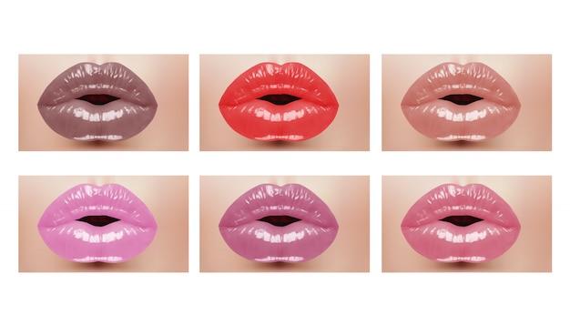 Usta moda realistyczne kobiety z kolorowymi ustami. ilustracji wektorowych.