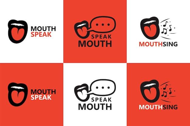 Usta mówić i śpiewać szablon logo wektor premium
