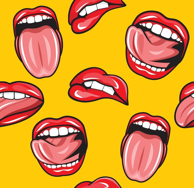 Usta pop-artu wektor wzór