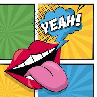 Usta z językiem na zewnątrz i objaśnienie chmurki tekst tak