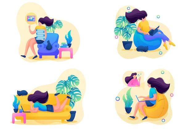 Ustaw 2d flat na temat kobiecej samoizolacji, pracy w domu, treningu online. do koncepcji projektowania stron internetowych.