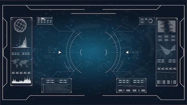 Ustaw abstrakcyjne elementy hud do projektowania ui ux. futurystyczny interfejs użytkownika sci-fi