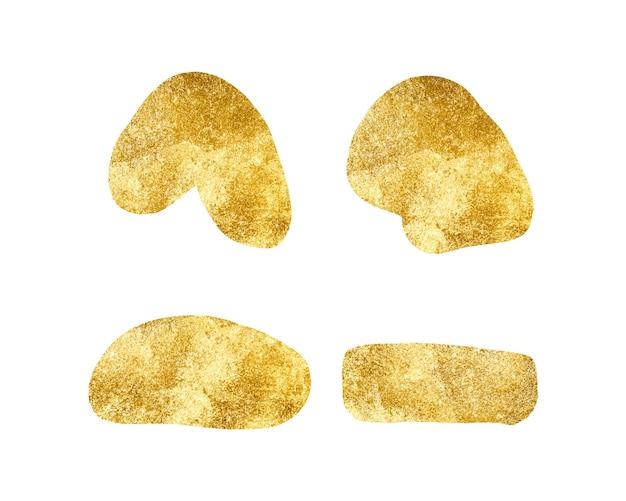 Ustaw abstrakcyjne złote ręcznie rysowane kształty