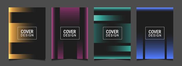 Ustaw abstrakcyjny projekt okładki z kolorową linią na ciemnym tle