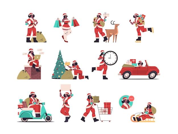 Ustaw afrykańską amerykańską dziewczynę w stroju świętego mikołaja przygotowującą się do wesołych świąt i szczęśliwego nowego roku koncepcja obchodów świątecznych postaci z kreskówek kobiet kolekcja ilustracji wektorowych na całej długości