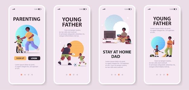 Ustaw afrykańskiego ojca bawiącego się z małym synem rodzicielstwo koncepcja ojcostwa tata spędzający czas ze swoim dzieckiem ekrany smartfonów kolekcja pełna długość kopia przestrzeń pozioma ilustracja wektorowa