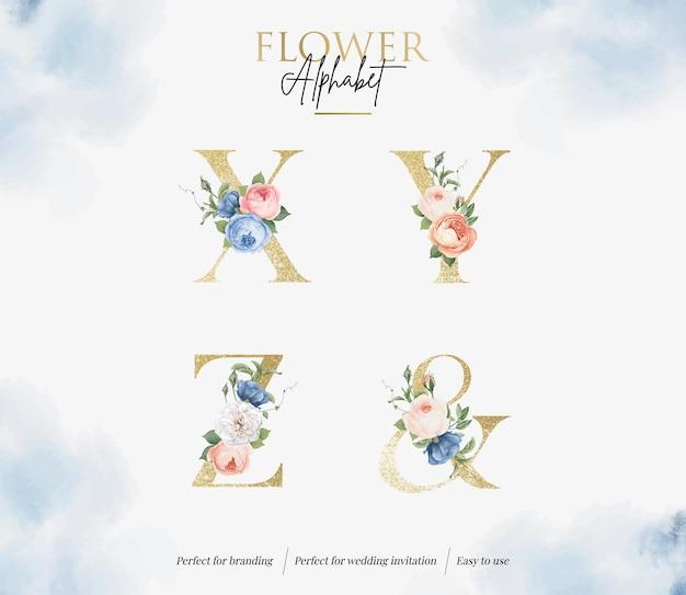 Ustaw akwarela kwiatowy alfabet ze złotą literą