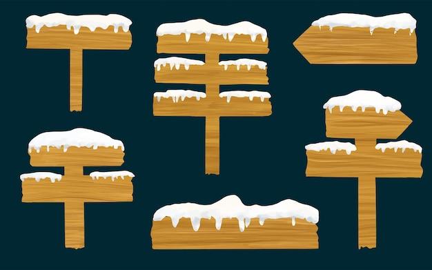 Ustaw akwarelowe drewniane szyldy kierunek znak deska wskaźnik z śnieżnymi czapami lodowymi realistyczna zima