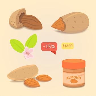 Ustaw almond. wektor zbiory ilustracji orzechów