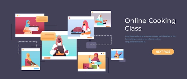 Ustaw arabskich blogerów kulinarnych przygotowujących potrawy arabskich szefów kuchni w oknach przeglądarki internetowej koncepcja klasy gotowania online