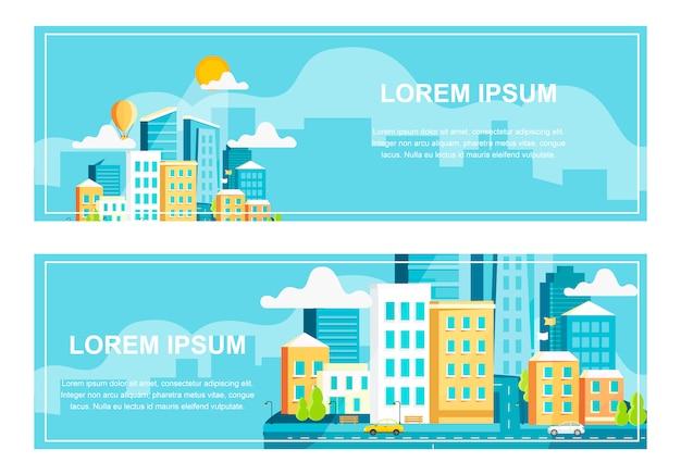 Ustaw architekturę krajobrazu nowoczesnego miasta
