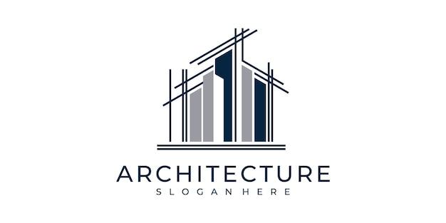 Ustaw architekturę logo z inspiracją do projektowania logo w stylu linii sztuki