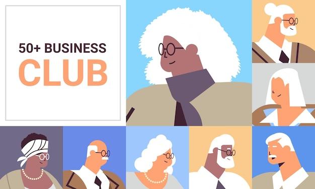 Ustaw awatary starszych biznesmenów mieszają rasy ludzi biznesu w formalnym stroju w wieku starości koncepcja