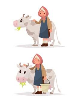 Ustaw babcię z krową. ilustracja rustykalne produkty mleczne.