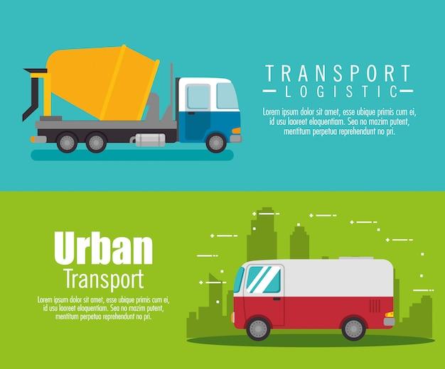 Ustaw baner ciężarówka usługi dostawy