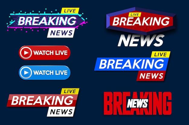 Ustaw baner dla tytułu szablonu breaking news na niebieskim tle dla kanału telewizyjnego na ekranie