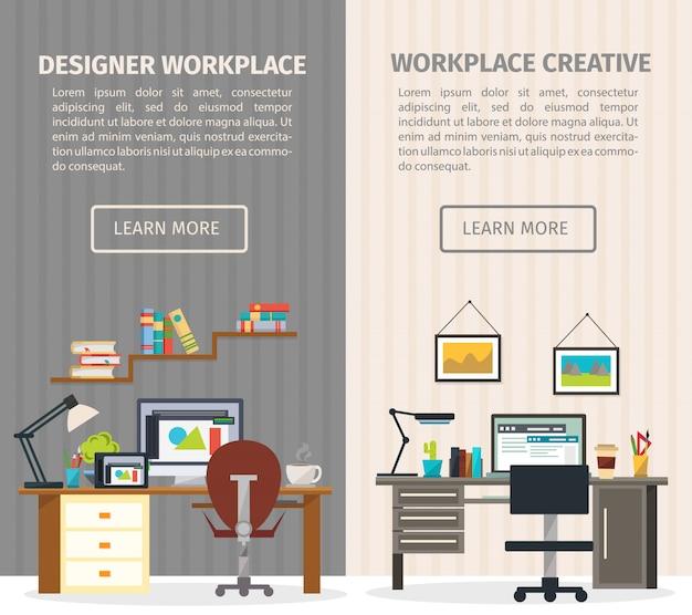 Ustaw baner dwa wewnętrzne miejsce pracy