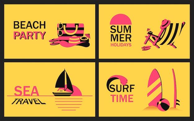 Ustaw baner letni z akcesoriami plażowymi, leżakiem, żaglówką na oceanie o zachodzie słońca i deską surfingową w piasku w uproszczonym stylu. wektor nowoczesny plakat na imprezę na plaży