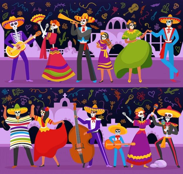 Ustaw baner party day of dead meksykańskiej