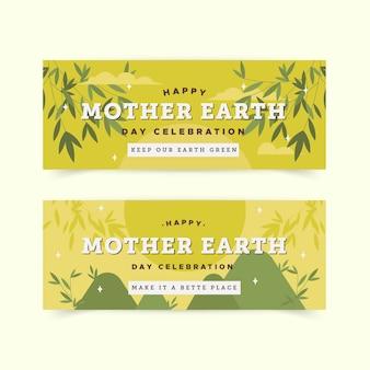 Ustaw baner płaski dzień matki ziemi