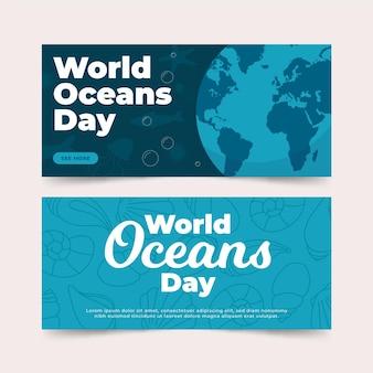 Ustaw baner płaski świat oceanów dzień
