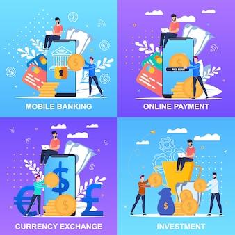 Ustaw baner płatności bankowości mobilnej zestaw napisów