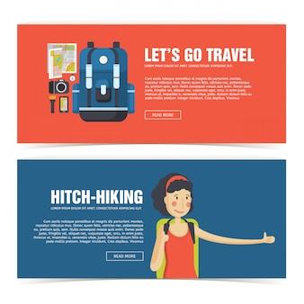 Ustaw baner projekt szablonu do podróży. reklama dla turystów. ulotka pozioma z promocją na podróż i wycieczkę. plakat autostopowy z ikoną uśmiechniętej dziewczyny i plecaka. .