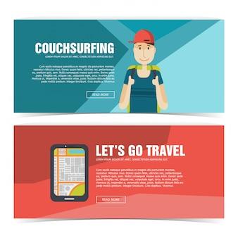 Ustaw baner projekt szablonu do podróży. reklama dla turystów. ulotka pozioma z promocją na podróż i wycieczkę. plakat couchsurfing z ikoną chłopca i smartfona. .