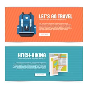 Ustaw baner projekt szablonu do podróży. reklama dla turystów. ulotka pozioma z promocją na podróż i wyjazd. plakat autostopowy z ikoną plecaka i mapy.