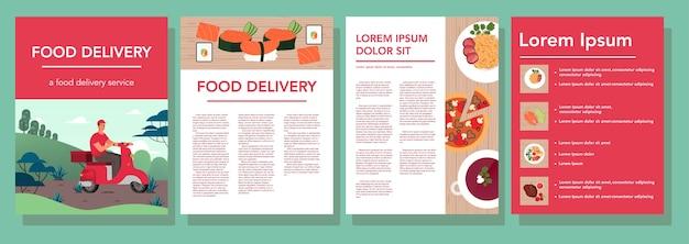 Ustaw baner reklamowy restauracji i dostawy żywności. kuchnia europejska i azjatycka. smaczne jedzenie na śniadanie, obiad i kolację. broszura lub ulotka z dostawą jedzenia. ilustracja