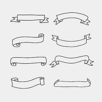 Ustaw baner rysowania ręka vintage