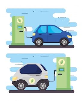 Ustaw baner, samochody elektryczne samochody na drodze stacji ładowania