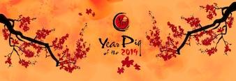 Ustaw baner Szczęśliwego Nowego Roku 2019. Chienese New Year, Year of the Pig. Tło wiśni