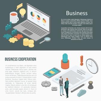 Ustaw Baner Współpracy Biznesowej, Styl Izometryczny Premium Wektorów