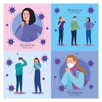 Ustaw baner z młodymi ludźmi chorymi na koronawirusa 2019 ncov