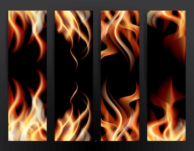 Ustaw baner z płomieniami ognia.